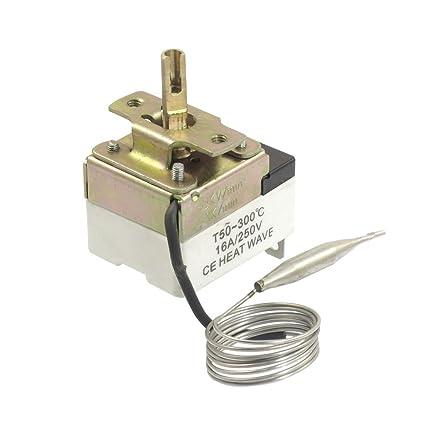 1NC 1NO AC 250 16A 50-300C Temperatura Control Interruptor Termostato Capilar