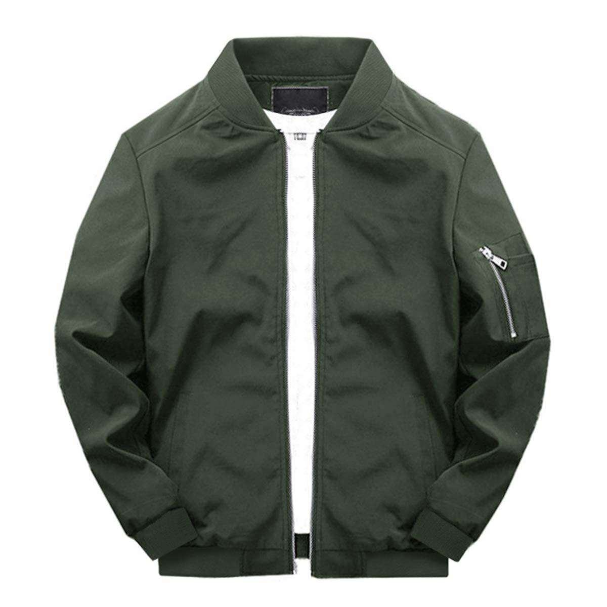 TOTNMC Men's Jacket Activewear Lightweight Softshell Flight Bomber Jacket Versity Coat Army Green by TOTNMC