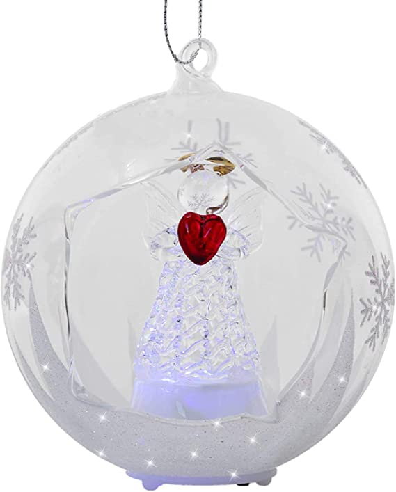8-inch Iridescent Light-Up Holiday Season Decor 6.5-inch Red Co 9.5-inch Glass Christmas Holy Angel Figurine Ornaments Set of 3