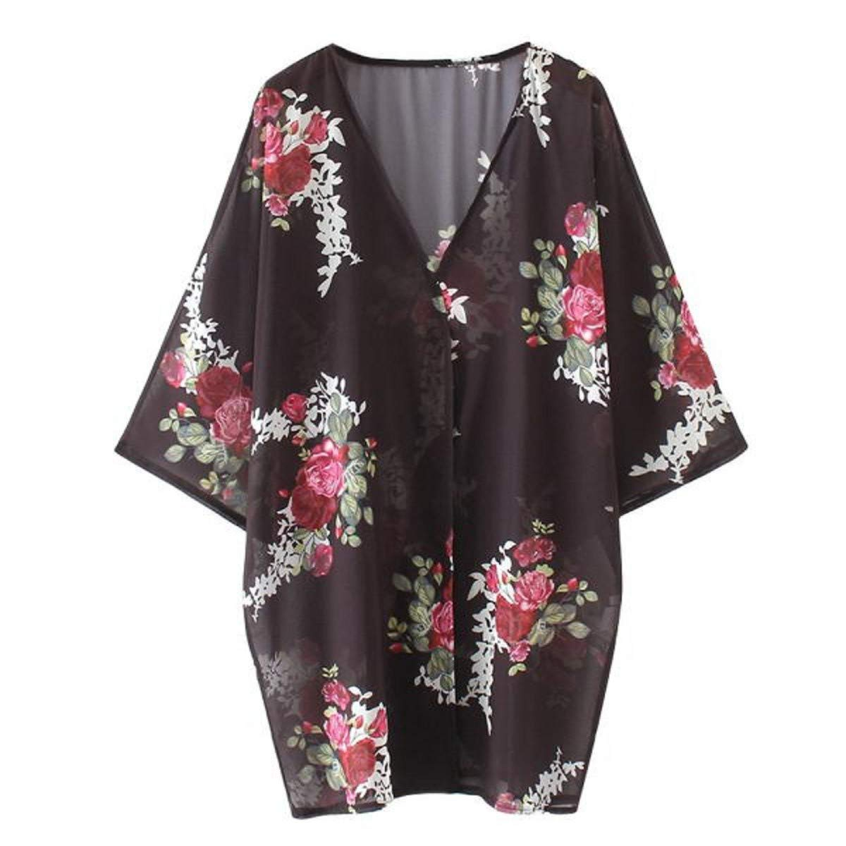 OTINICE Women's Chiffon Kimono Cardigans Floral Puff Sleeve Casual Loose Swimwear Cover ups Black by OTINICE (Image #2)