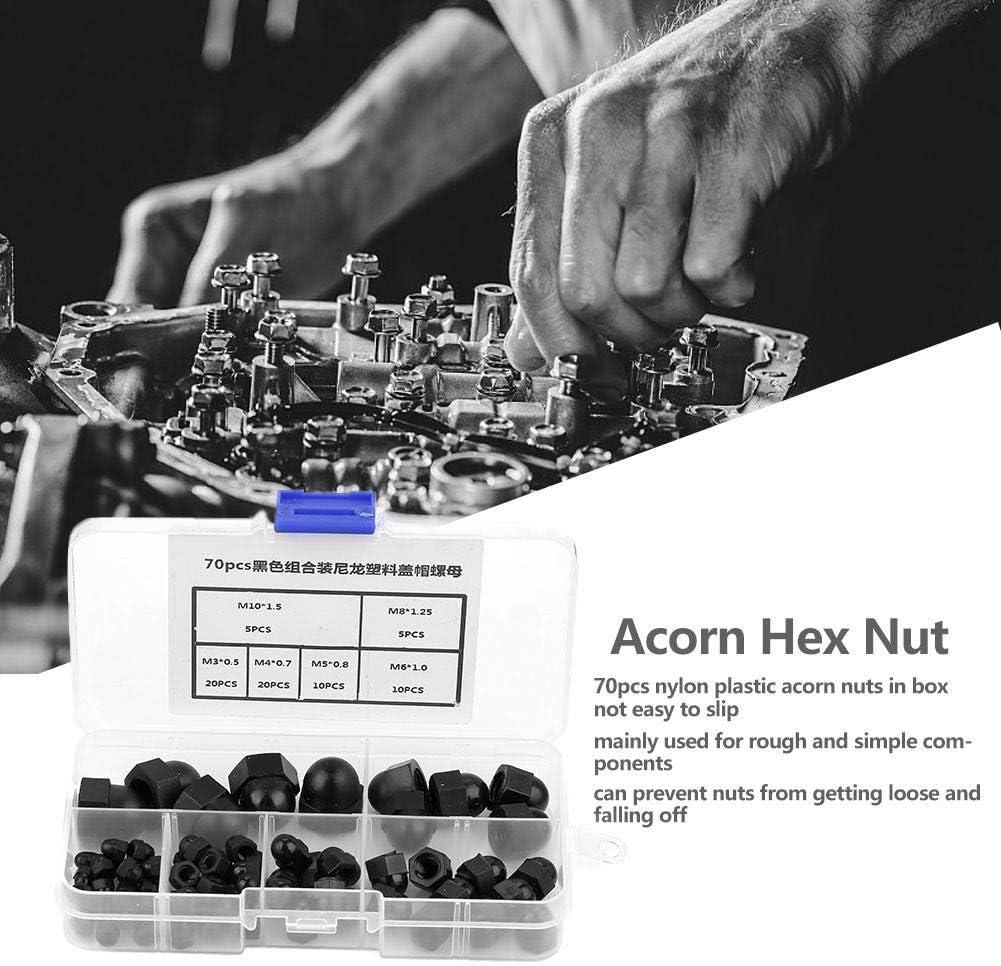 Acorn Cap Nut Hex Head Dome Black M3//M4//M5//M6//M8//M10 Nylon Nut Hex Head Dome 70Pcs Nut Acorn Plastic Hex Acorn Nuts