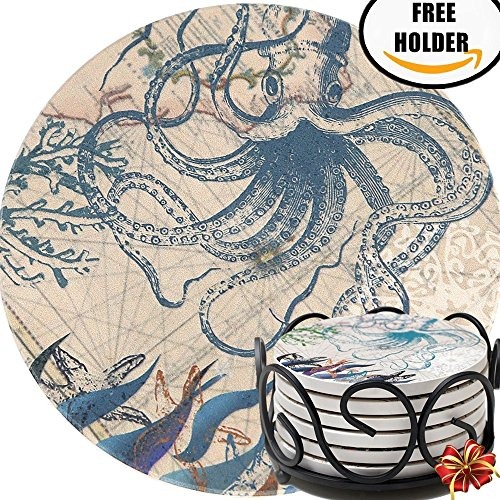 SALE - Enkore Ceramic Coasters - Set of 6 Absorbent Natural Stone Coaster In Deluxe Black Iron Metal Holder - Modern & Functional, Octopus Design With Furniture Surface Safe Cork Backing