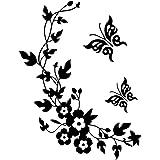 Pegatinas decorativas para pared, con diseño de mariposas y flores, fáciles de retirar, color negro