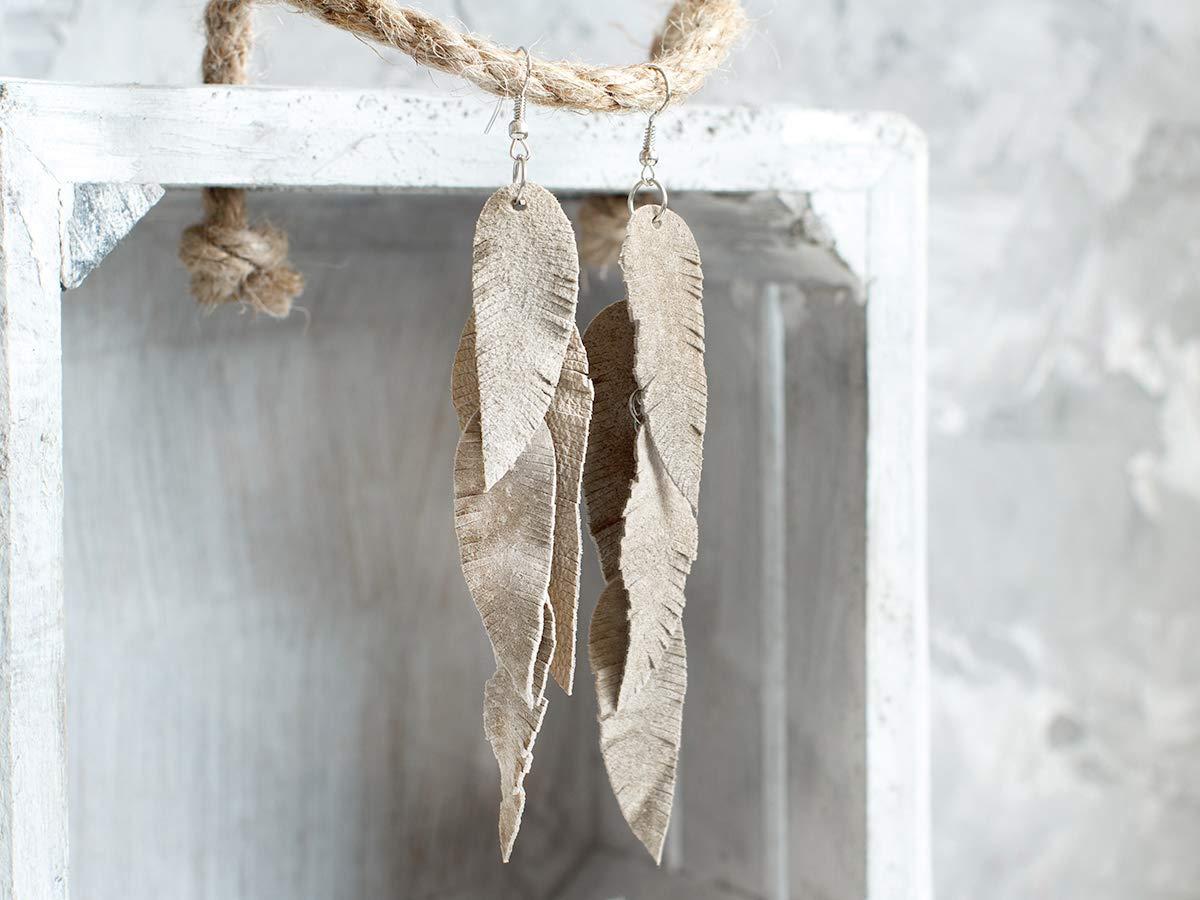 long earrings Cream beige suede leather Feather Earrings Boho earrings layered earrings dangle earrings tribal Earrings