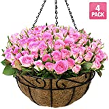 Sorbus 4 Pack Metal Hanging Planter Basket Huge 14 Inch Hanging Flower Pot Basket & Coco Coir Liner for Indoor/Outdoor Garden Décor, Perfect for Home, Garden, Patio, Deck
