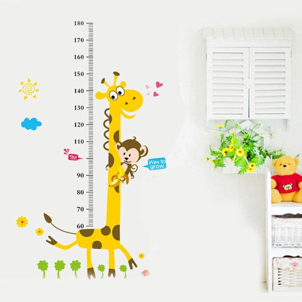 Toise Sticker Mural Enfants Hauteur Autocollante Taille Croissance de Mesure GirafeTableau R/ègle D/écoration Chambre 1C