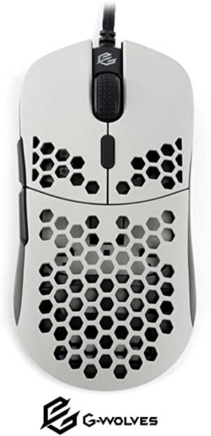 G-Wolves HT-M Ultra Lightweight Honeycomb Shell Wired Gaming Mouse up to 12000 cpi - 6 buttons - 2.18 oz (61g) (Pixart 3360, Ash)