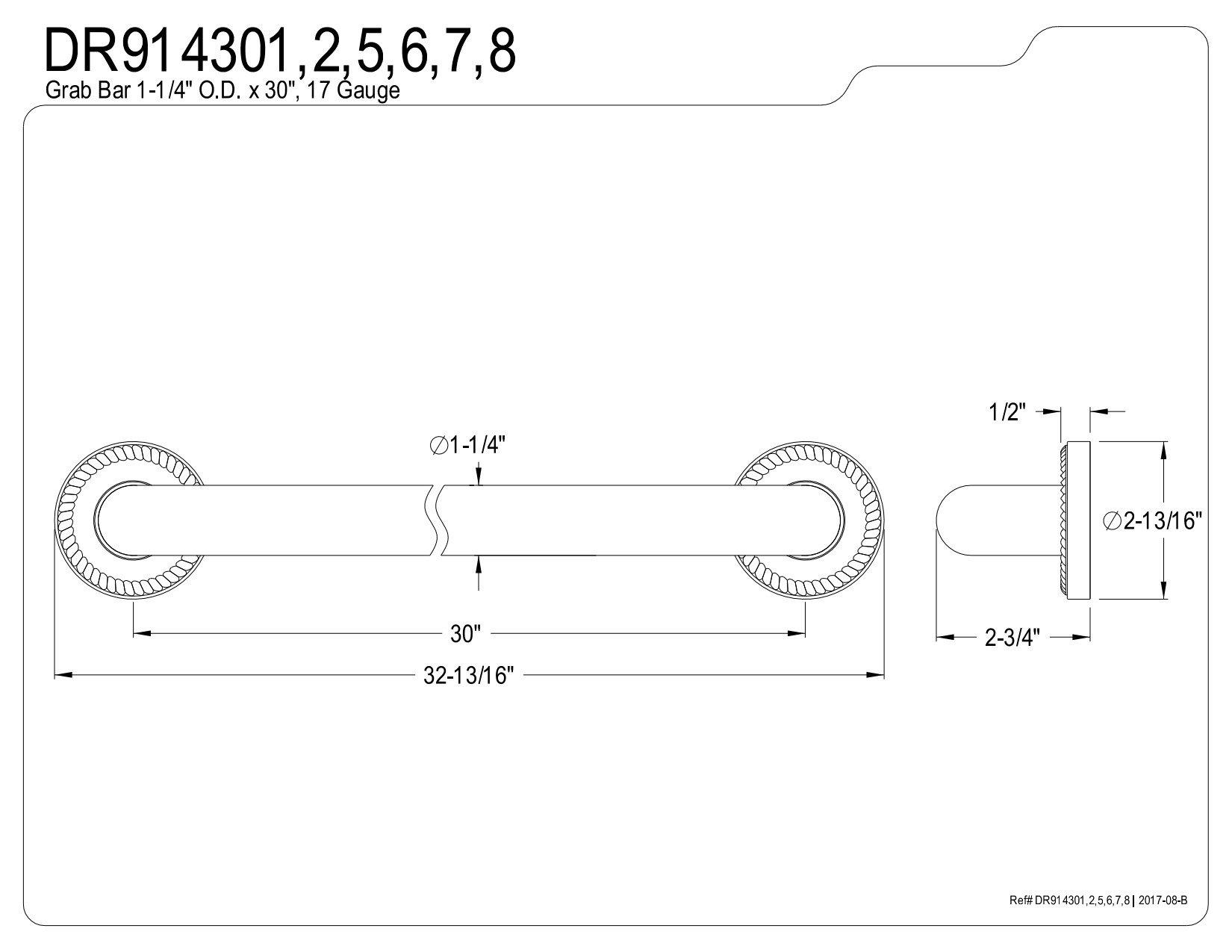 Kingston Brass DR914305 Designer Trimscape Camelon 30-Inch Grab Bar, Oil Rubbed Bronze