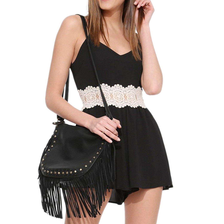 Der reizvollen Frauen schwarze AErmellose Hohe Taillen-dUEnne Taille Sommerkleid Overall-Spielanzug