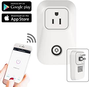 Wi-Fi Smart Power Plug-Wireless Remote Socket , Remote Control by Smartphone, AC Outlet with Timer Scheduling, USA wall mount 3pin plug UL certified, 1pc