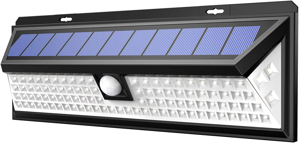 AMIR Solar Lights Outdoor, Enhanced 102 LED Super Bright Motion Sensor Wall Lights, IP65 Waterproof, 270 Wide Illumination Angle, Easy Install Security Lights for Driveway, Front Door, Yard etc.