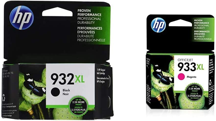 HP 932XL | Ink Cartridge | Black | CN053AN & 933XL | Ink Cartridge | Magenta | CN055AN