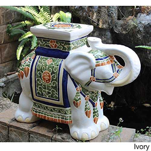 Oriental-themed Large Ivory White Porcelain Elephant Garden Stool Accent Statue with Painted Multicolored Glaze Finish
