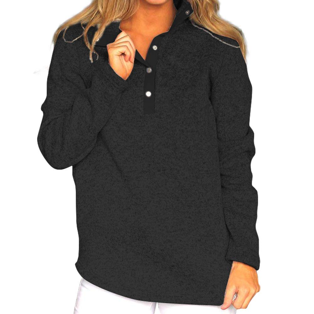 Black Alluring Choice Womens Crew Neck Long Sleeve Blouse Top