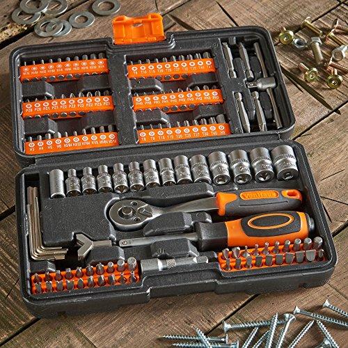 Useful for Everyday DIY Bike Repairs Bit Set Including 72-Teeth Ratchet Handle Light Duty car Repairs /& Screw Driving VonHaus 130pc Socket