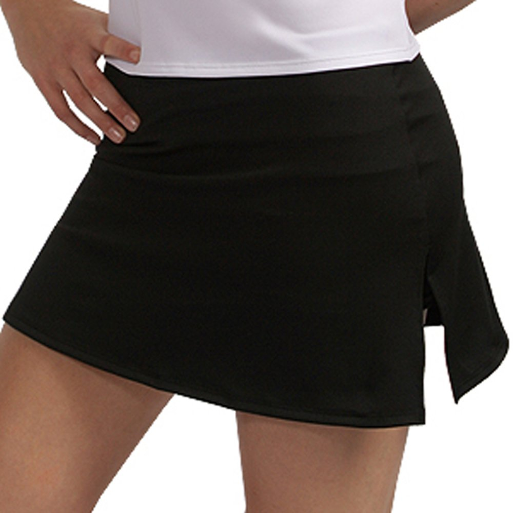 A-Line Tennis Fitness Skirt with Shorts and Slits (X-Large, Black)
