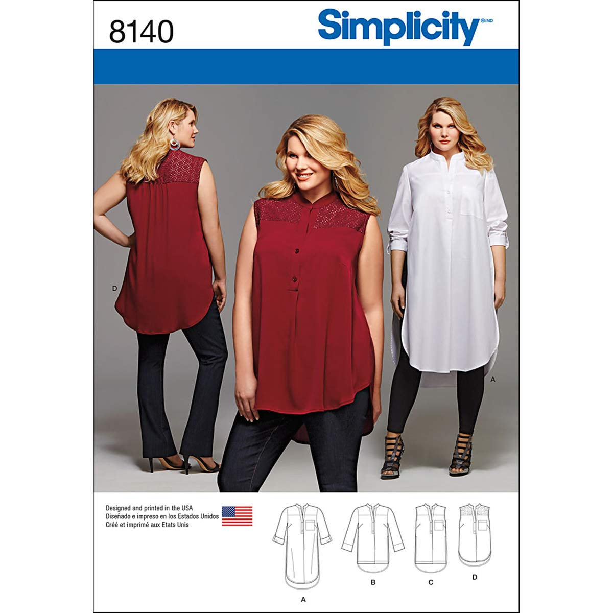 Simplicity Creative Patterns 8140 Plus Size Shirt with Length and Sleeve Variations GG 26W-28W-30W-32W