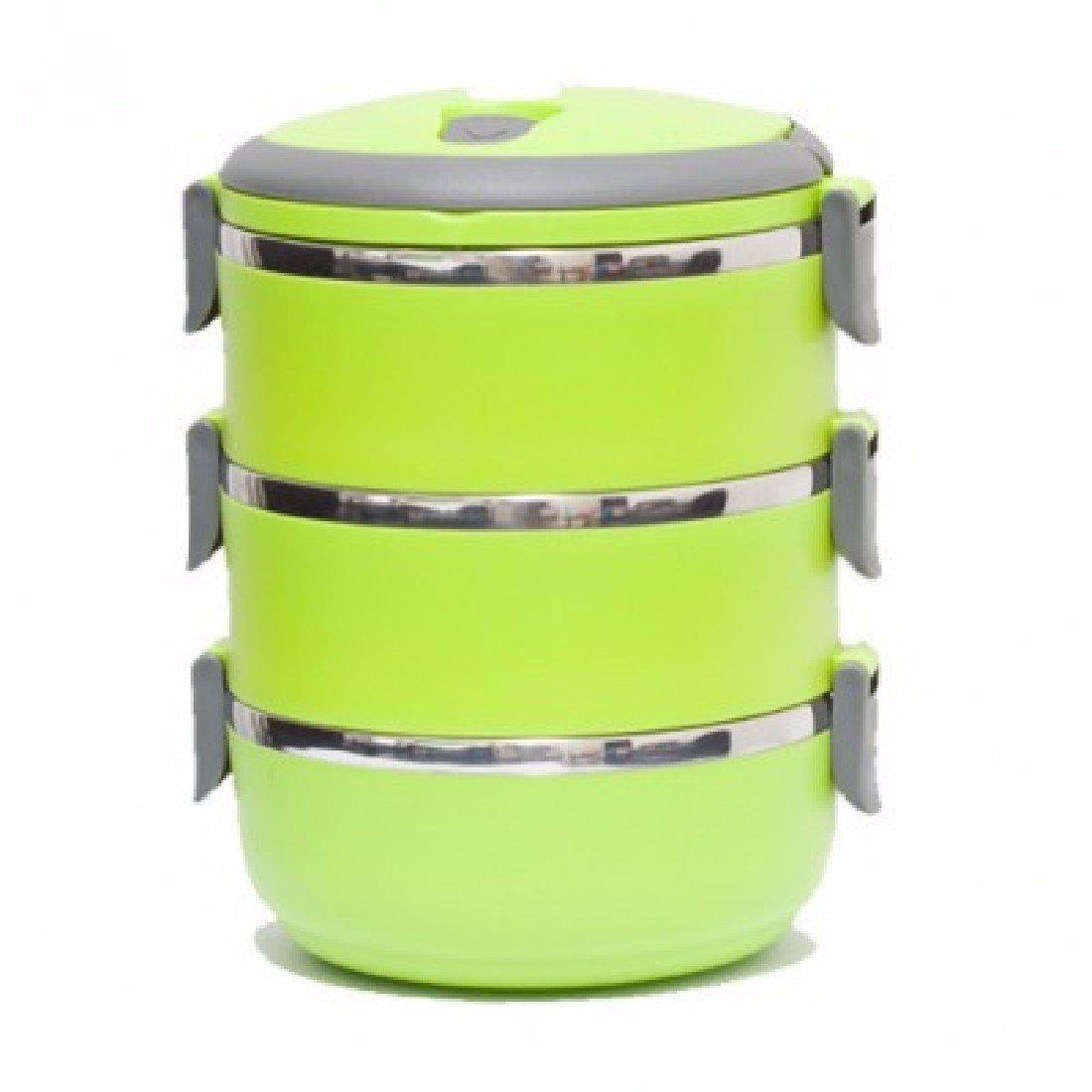 SDKKY Edelstahl-dreistufiges Vakuum Isolations-Lunch-Boxen, Runde kreative japanische Studenten Lunch-Boxen,Grün