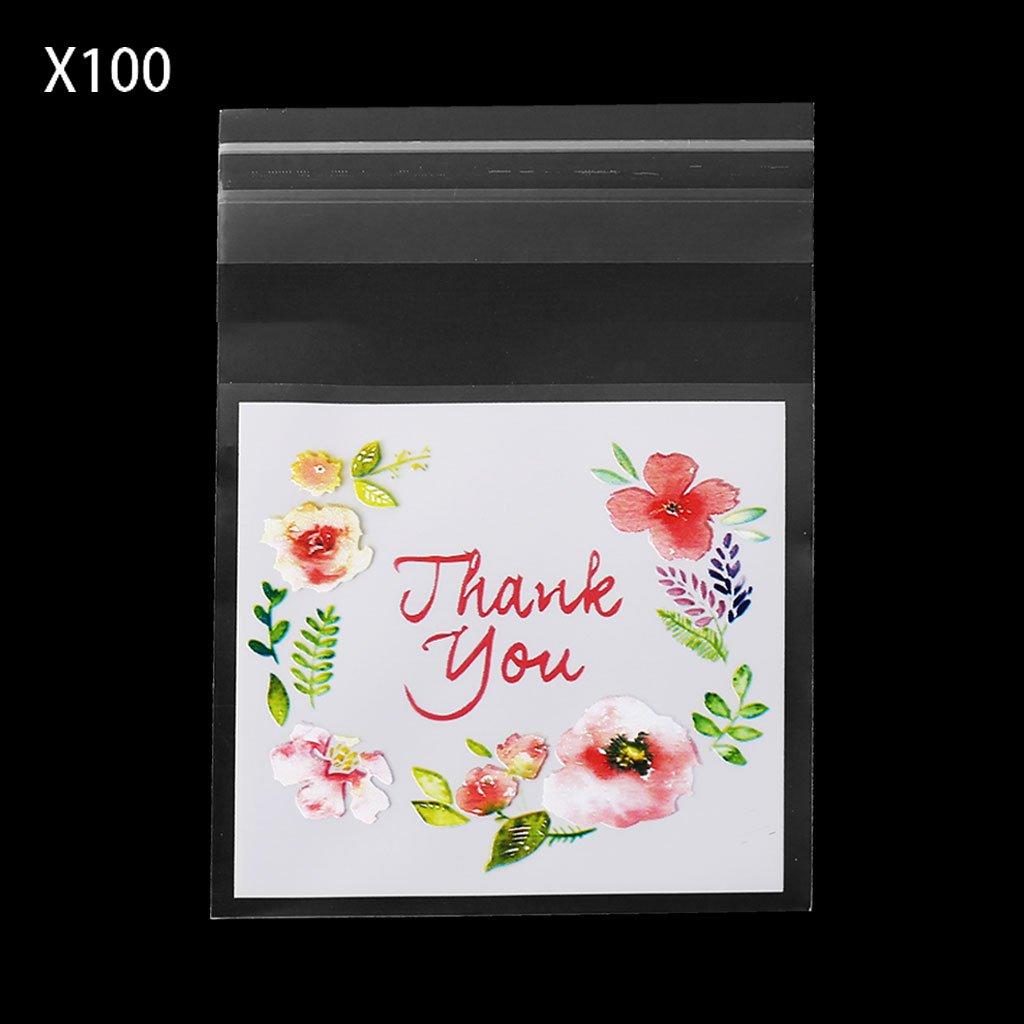 100pcs 4 Sizes Plastic Thank You Cookie Package Candy Bag Self-Adhesive Gift DIY Tebatu