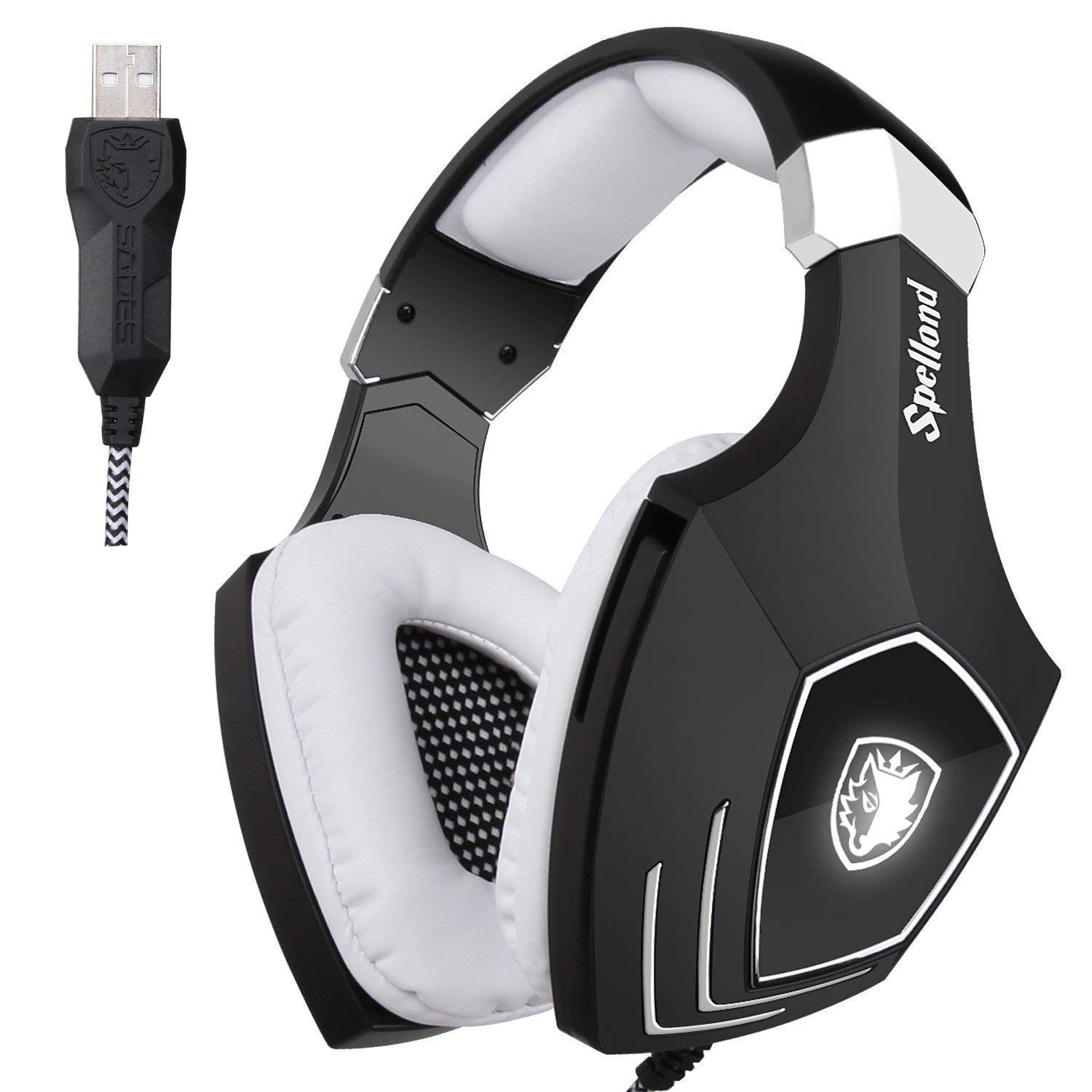 Sades OMG/A60S Stereo Surround USB Cuffia Gaming con Microfono Noise Cancelling Stereo Bass da Gioco Gamer LED Luce Regolatore di Volume per PC Mac Laptop Computer(Nero/ Bianco) SHENZHEN SADES DIGITAL TECHNOLOGY CO. LTD.