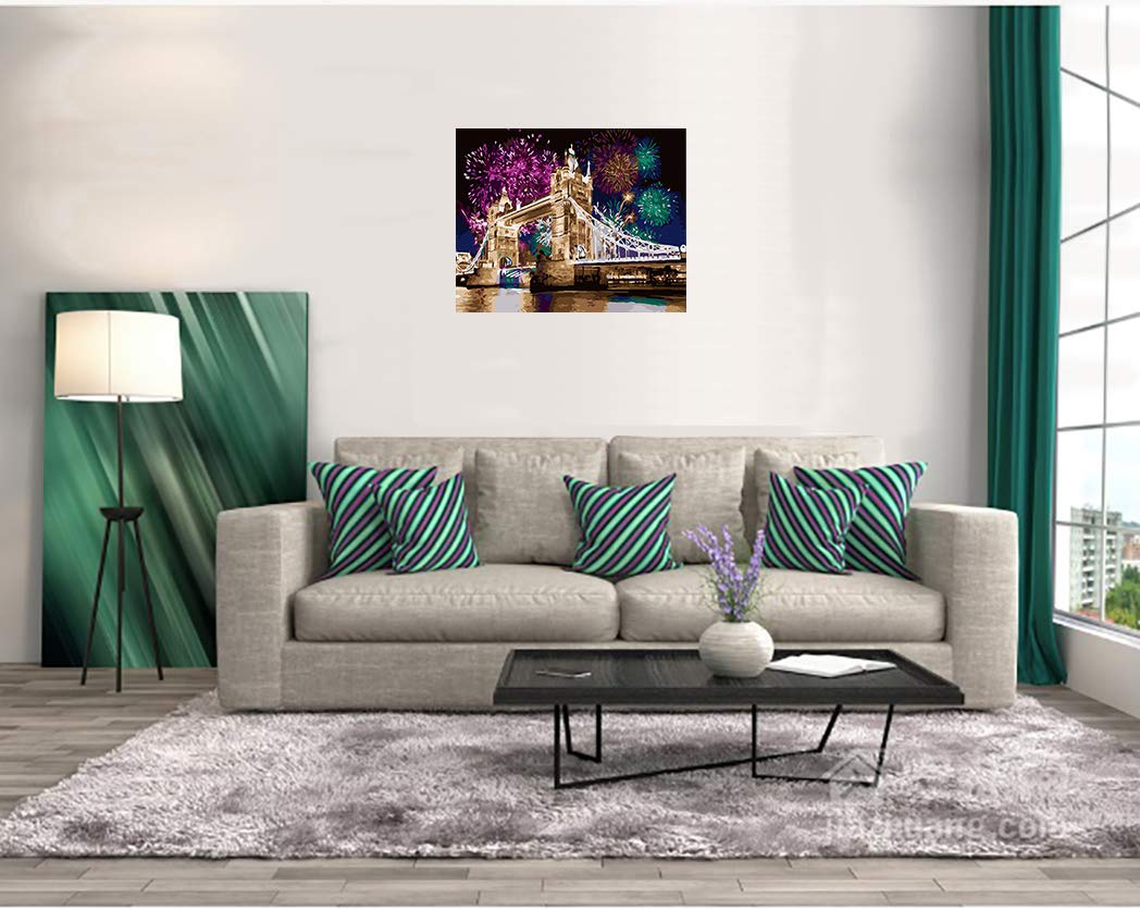 Autumn F 16 20 Inch WATAKA DIY Painting By Numbers for Adults and Children Pre-Printed Canvas Oil Painting Kits with wooden frame for Home House Decor