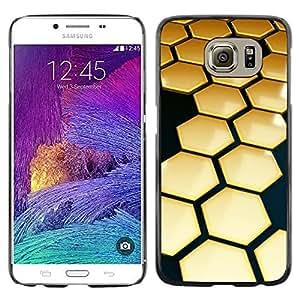 Be Good Phone Accessory // Dura Cáscara cubierta Protectora Caso Carcasa Funda de Protección para Samsung Galaxy S6 SM-G920 // Hive Gold Black 3D Hexagon