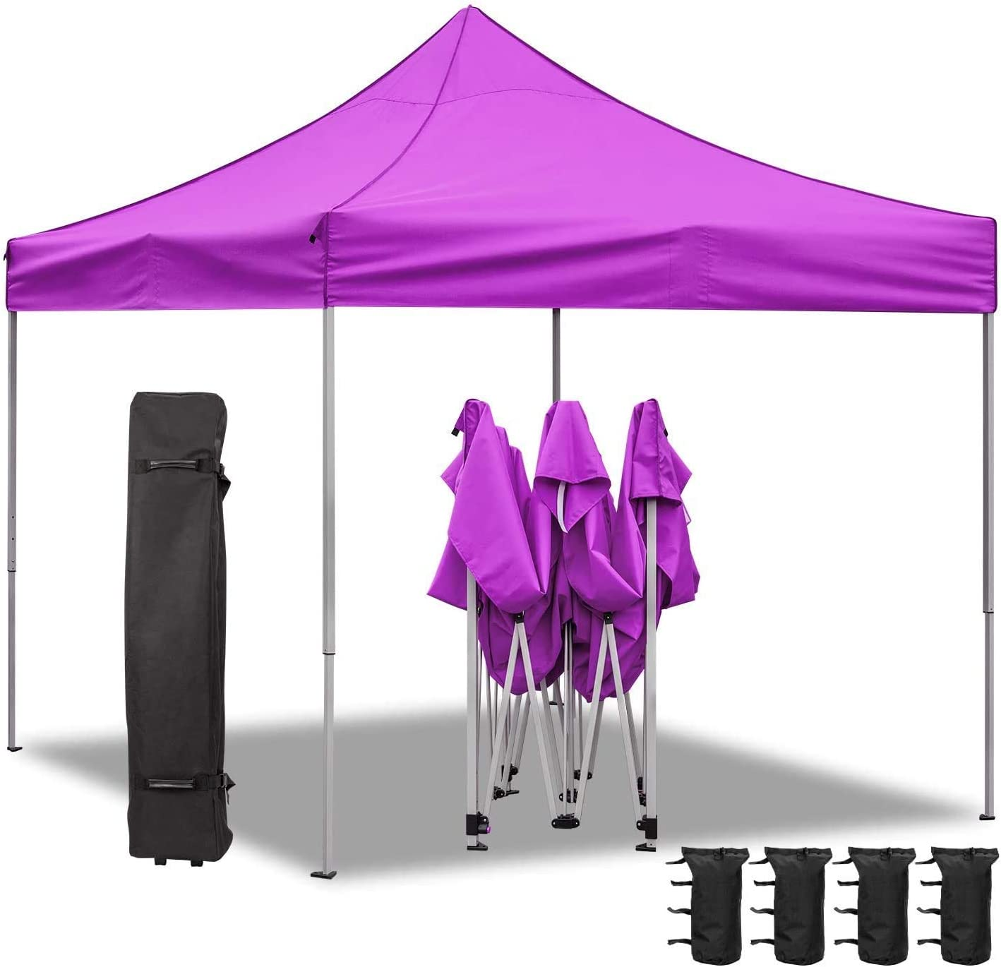 Homall Pop Up Canopy 10X10 FT Ez Up Canopy Tent Commercial Instant Shelter Patio Sun Shade Canopies with Roller Bag, 4 Canopy Sand Bags Purple