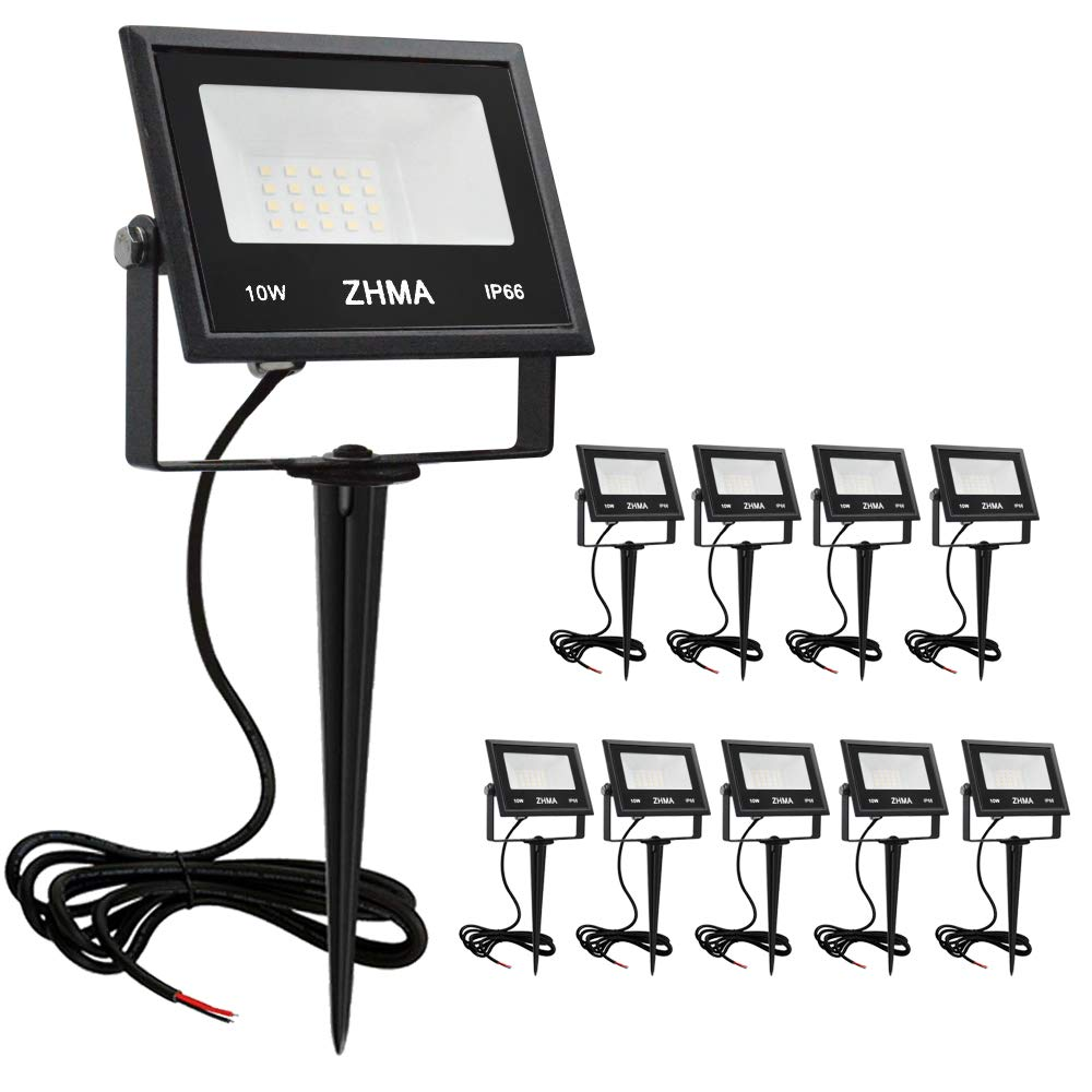 ZHMA 10W LED Landscape Lights 12V Low Voltage Warm White IP66 Waterproof Garden Flood Light for Pathway Lighting, Yard, Lawn, Wall, Trees Lighting, Outdoor Spotlights with Spike Stand [10 Pack] by ZHMA