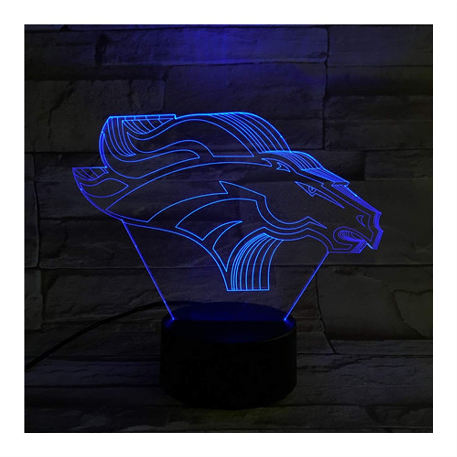 KMDB Denver Broncos Light Illusion Lamp Bedside Table Lamp, 7 Colors Changing Touch Switch Desk Decoration Lamps Birthday with Acrylic Flat & ABS Base & USB Cable