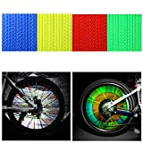 Oumers 4Sets/48pcs Cycling Wheel Spoke Reflector Clips,Reflective Warning Strip,Bicycle Wheelchair Cycle Reflector Clips,Bike Safety Clip For Wheel Reflective Tube (12Blue +12Green +12Red +12Yellow)