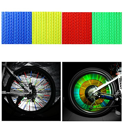 Electric Wheelchair Tubes - Oumers 4Sets/48pcs Cycling Wheel Spoke Reflector Clips,Reflective Warning Strip,Bicycle Wheelchair Cycle Reflector Clips,Bike Safety Clip for Wheel Reflective Tube (12Blue +12Green +12Red +12Yellow)