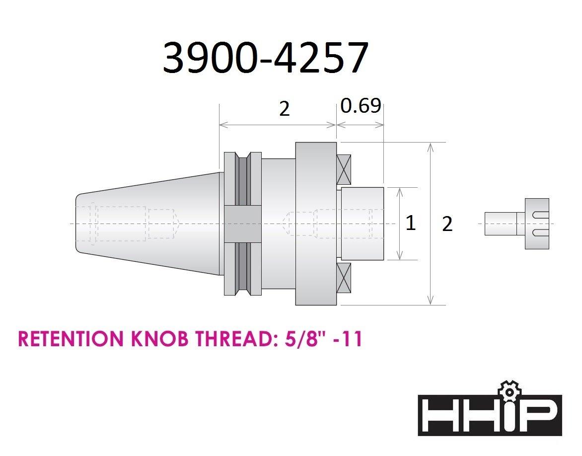 HHIP 3900-4257 1 x Cat 40 V-Flange Shell End Mill Arbor