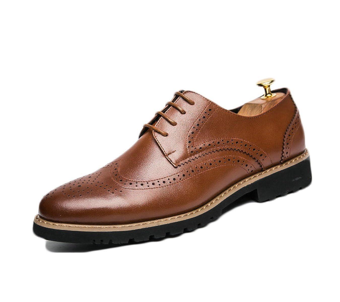 Männer Leder Block Flut Schuhe Mode Britische Schuhe Herren Freizeitschuhe Wies Britische Mode Schuhe Braun 487dd8