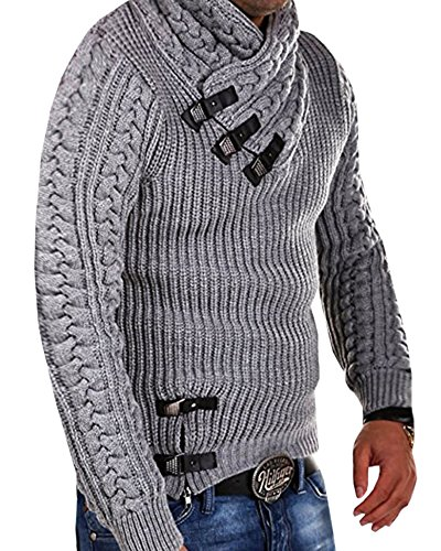 Runcati Mens Sweaters Pullover Turtleneck Long Sleeve Button Up Cable Knit Ribbed Fall Slim Fit Warm Jumper Grey ()