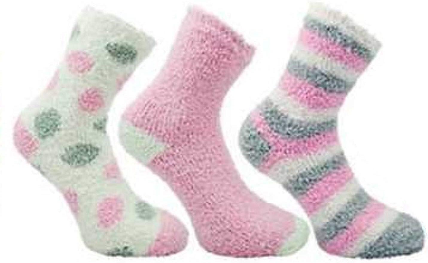 Womens Fluffy Stripes Plain /& Polka Dot Co-Zee Thermal Socks 3 Pair Pack