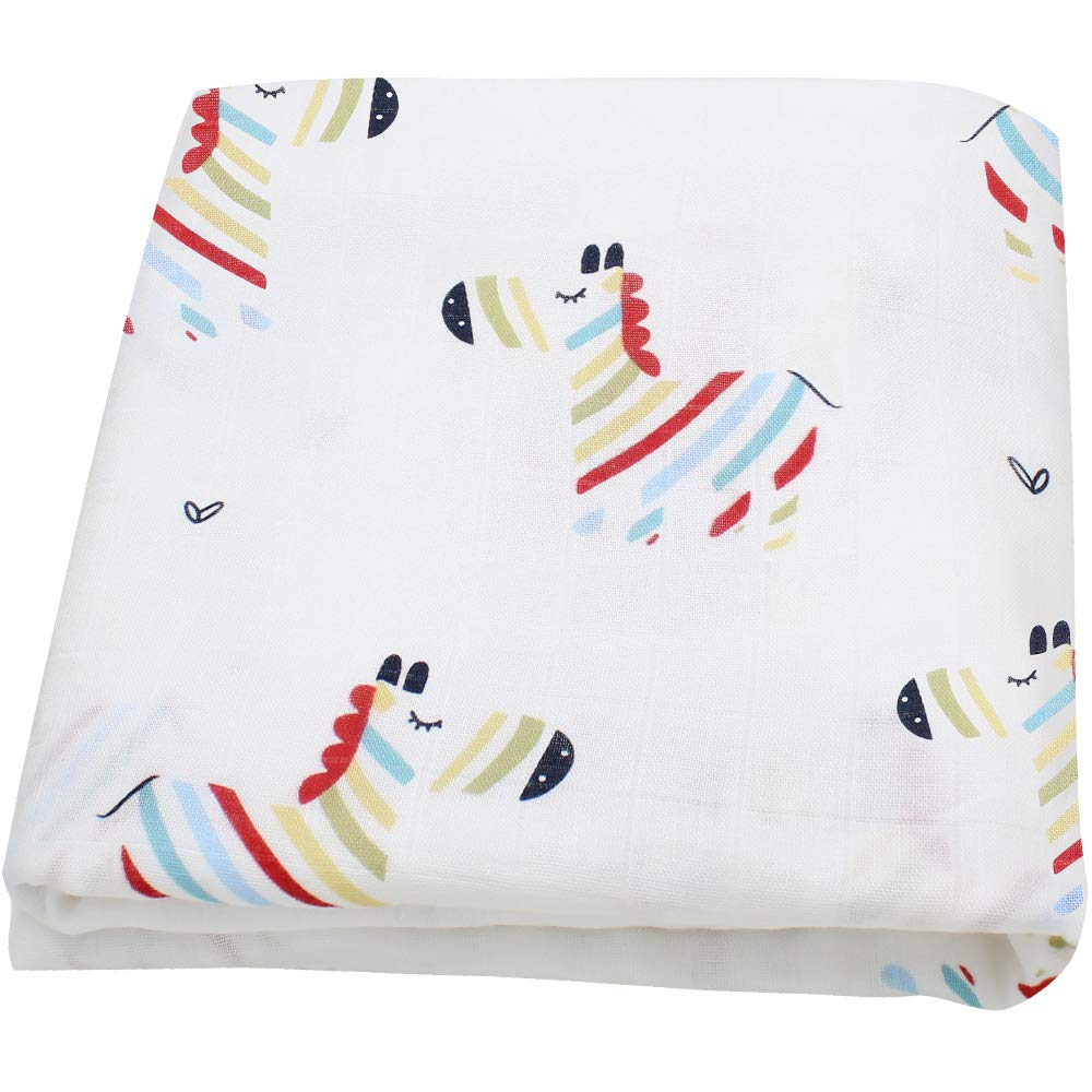 LifeTree Muslin Swaddle Blankets Bamboo Cotton Soft Baby Muslin Blanket for Boys /& Girls Large 47 x 47 inches