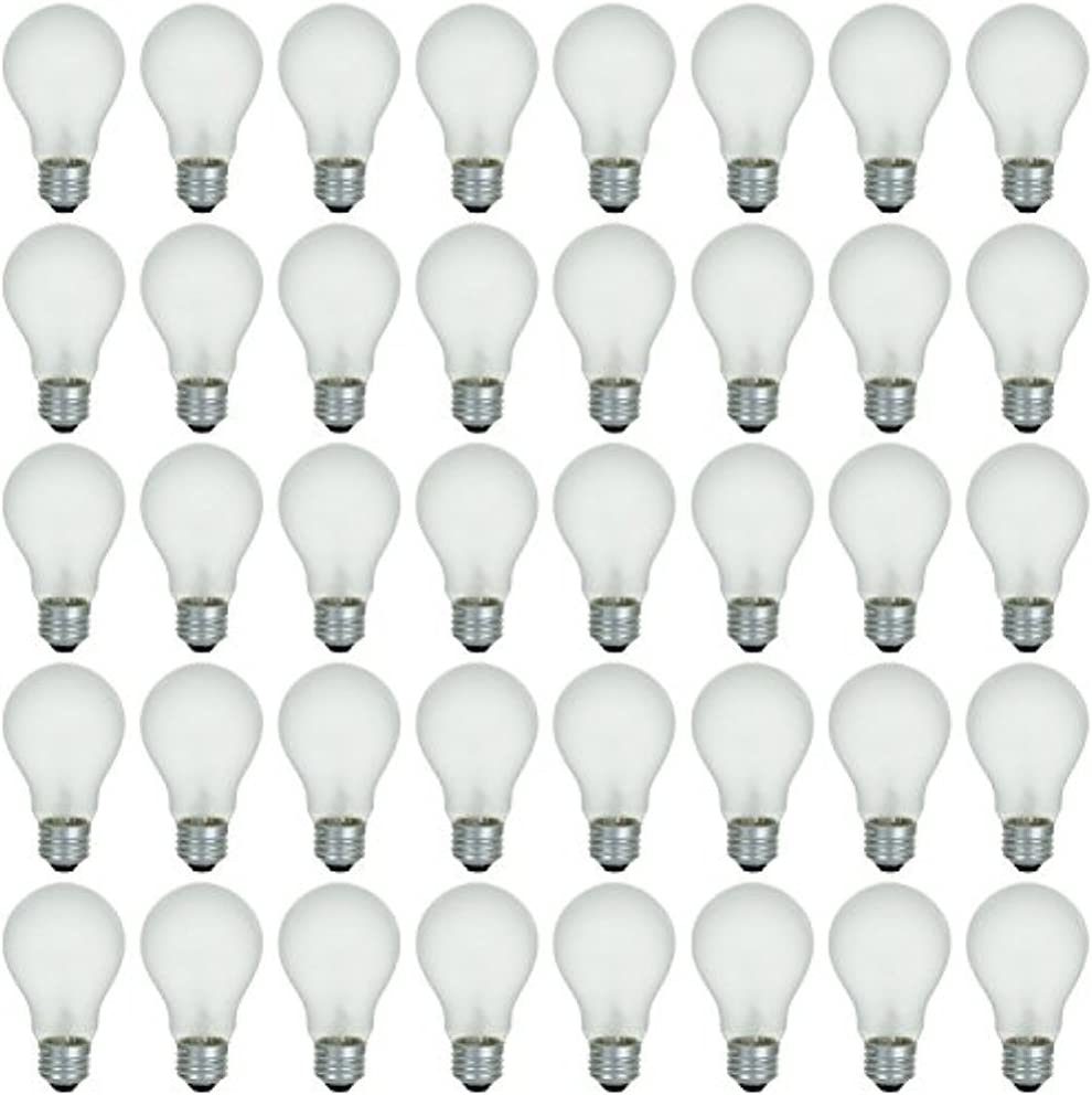 48 Pack of 60 Watt Long Life Incandescent Light Bulb, 130 Volt, Warm White, 3200K, Frost Finish, Medium Base, Rough Service - Vibration Resistant: Classic & Beautiful Natural Light Appearance 100 CRI