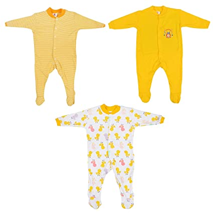 688261b32fc4 Mini Berry Baby Boy Cotton Rompers in Yellow for 9-12 Months -Set of 3Pcs   Amazon.in  Baby
