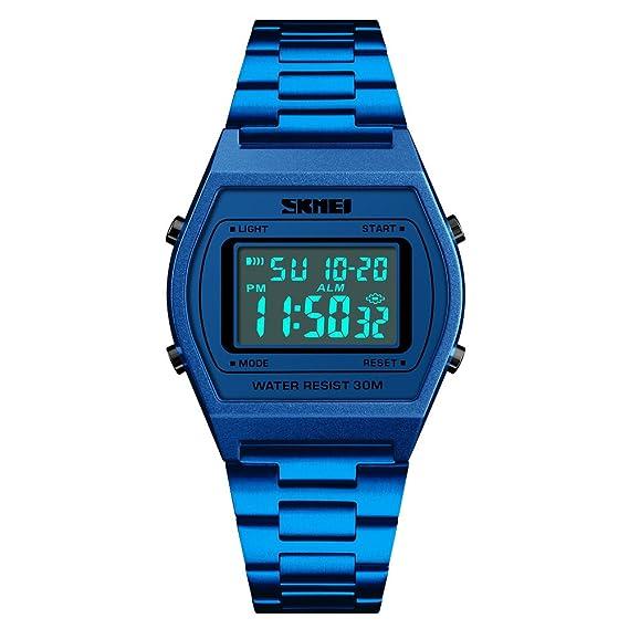 Reloj digital deportivo para hombre con pantalla LED, reloj militar, ultra delgado, impermeable, casual, estilo militar, color azul: Amazon.es: Relojes