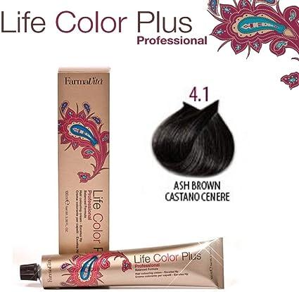FarmaVita Life Color Plus, Tinte 4.1 Castaño Ceniza - 60 ml (8022033007261)