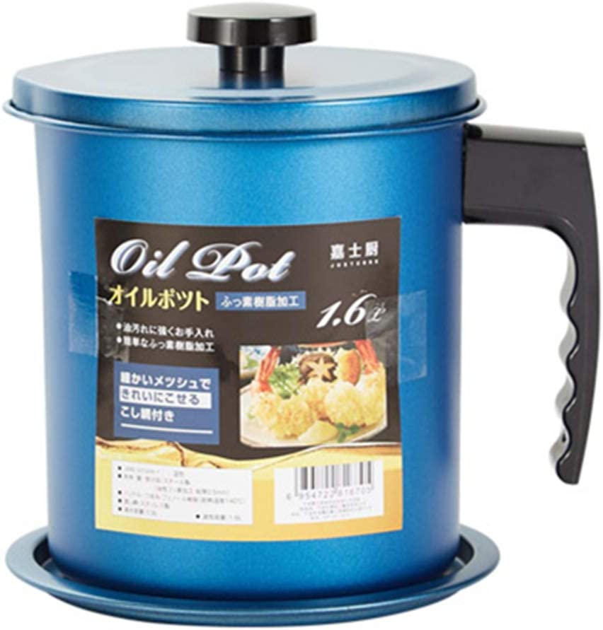 Cooking Oil Storage Grease Keeper, Grease Oil Strainer Container Pot with Filter for Deep Fryer (1.6L-Blue)