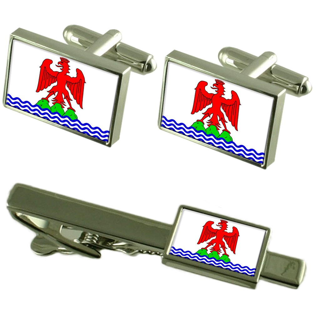Nice City France Flag Cufflinks Tie Clip Box Gift Set