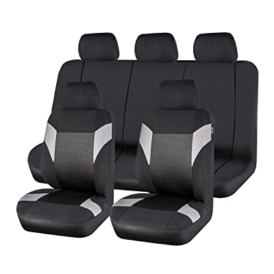 CAR PASS Universal Car Seat Covers Polyester Black with Gray Breathable Washable: Automotive