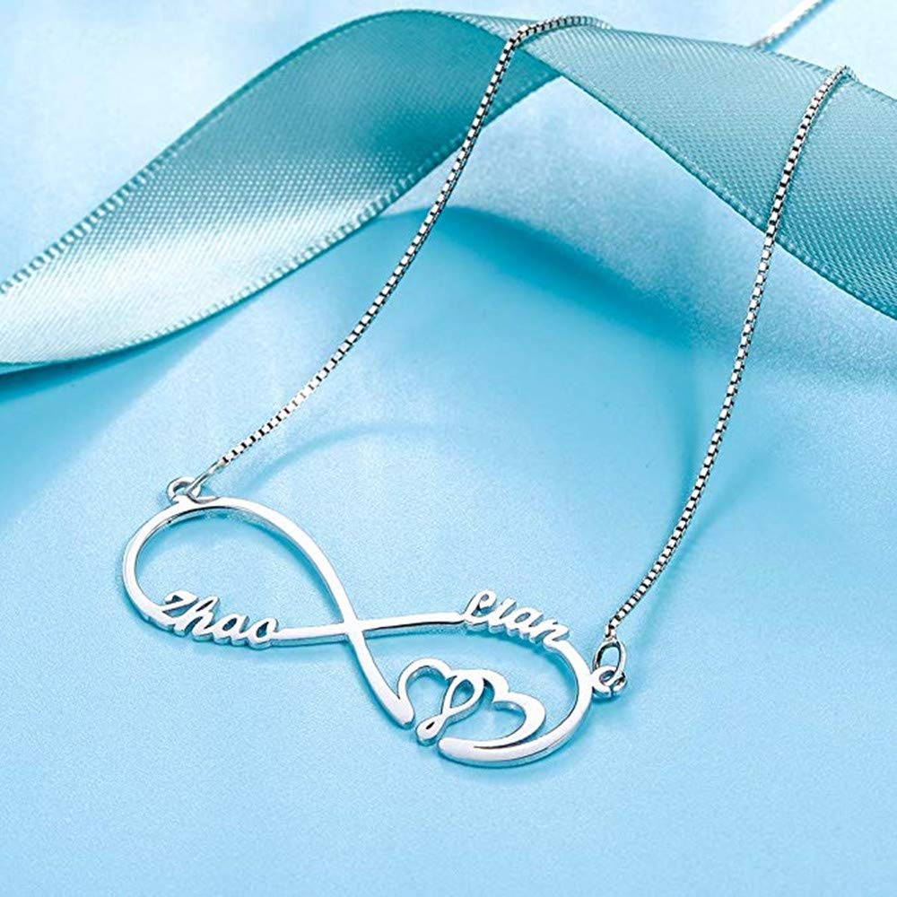 Iprome Eternal Infinity Personalized Name Necklace 18K Gold Custom Unlimited Love Handmade 1-3 Names Personality Heart-Shaped for Woman