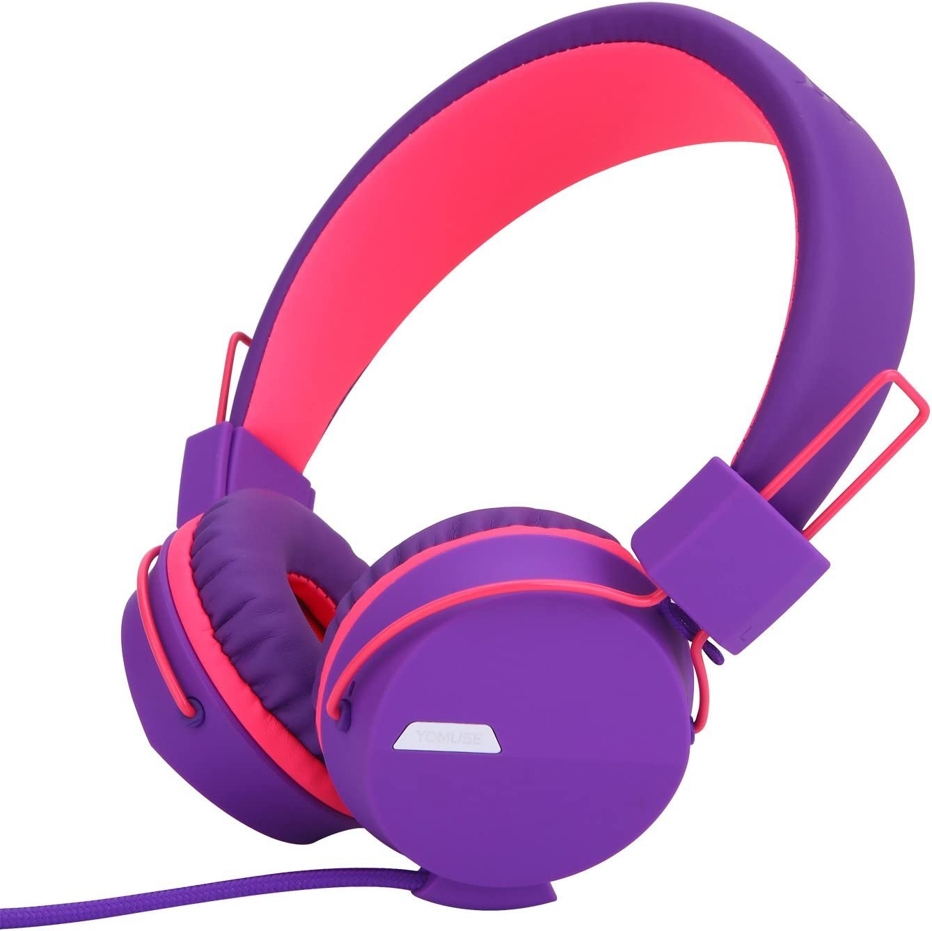 Yomuse F85 On Ear Foldable Headphones with Microphone for Kids Teens Adults, Smartphones iPhone iPod iPad Laptop Tablets Mp3/4 Purple Pink
