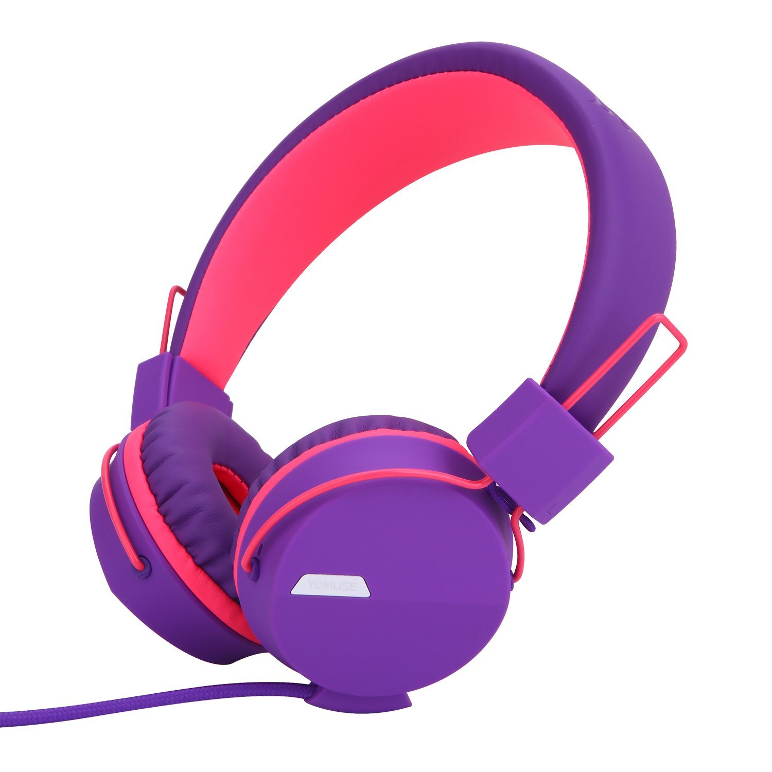 Yomuse F85 On Ear Foldable Headphones with Microphone for Kids Teens Adults, Smartphones iPhone iPod iPad Laptop Tablets Mp3 4 Purple Pink