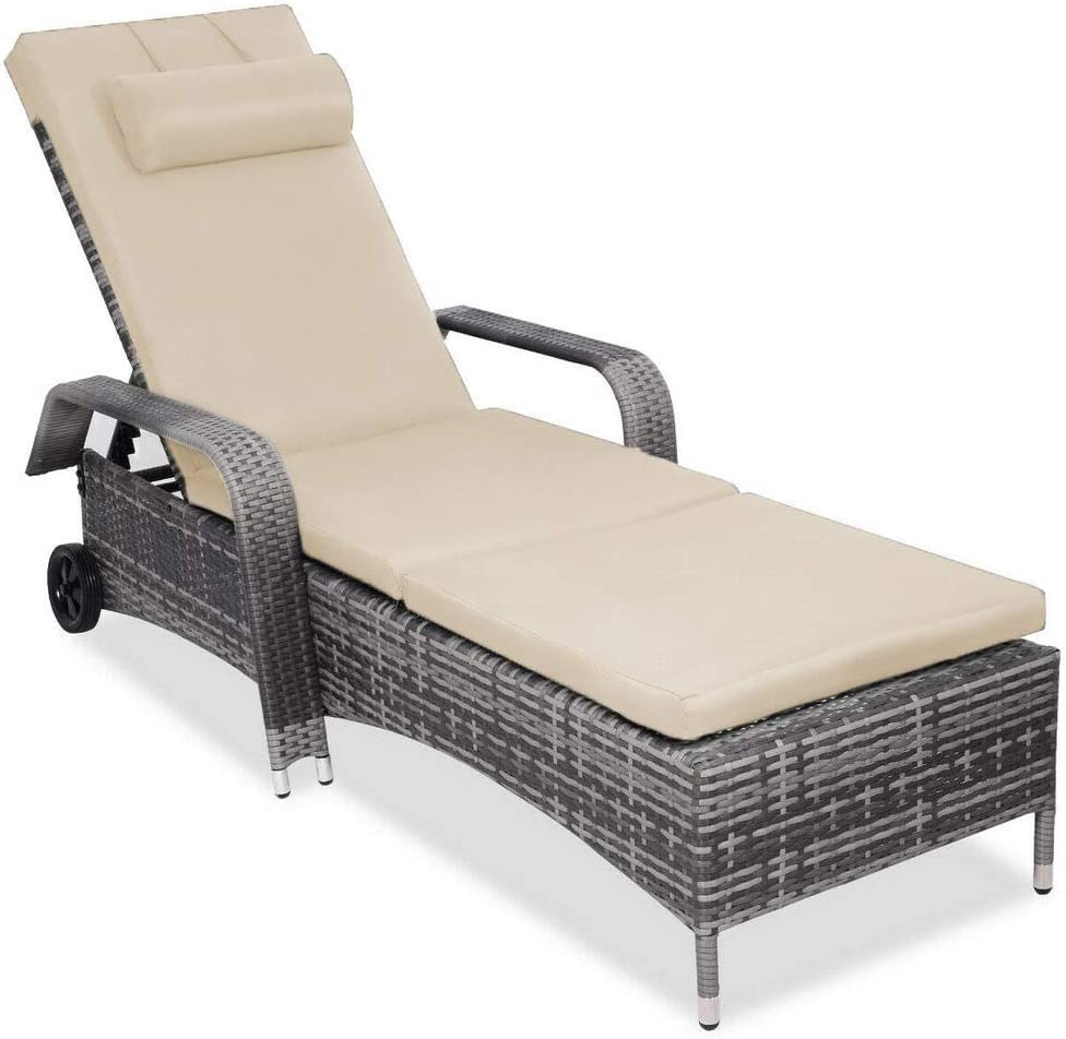 OAKVILLE FURNITURE 61708 Adjustable Patio Outdoor Rattan Chaise Lounge Chair with Wheels, Grey Wicker, Beige Cushion