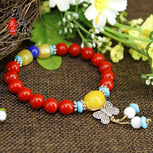 (Multicolored butterflies natural cinnabar lap natal male and female models bracelets beads jewelry bracelet gift couples)