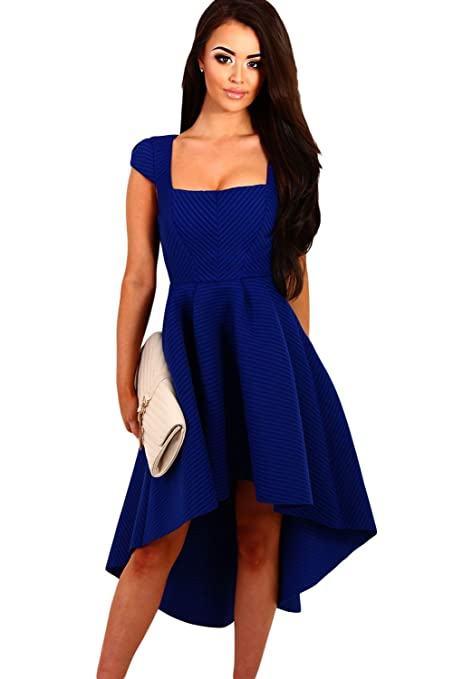 New Womans Blue Stripe Square Neckline Up Down Hemline Skater Dress Prom Dress Evening Party Wear