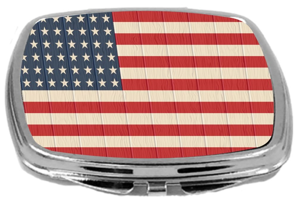 Rikki Knight Compact Mirror on Distressed Wood Design, America Flag, 3 Ounce